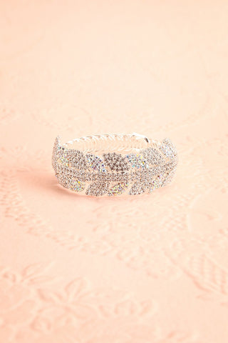 Urbanitas Crystal Studded Silver Bangle Bracelet | Boutique 1861 flat view