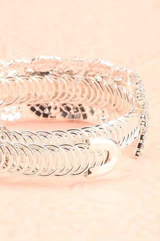 Urbanitas Crystal Studded Silver Bangle Bracelet | Boutique 1861 back close-up