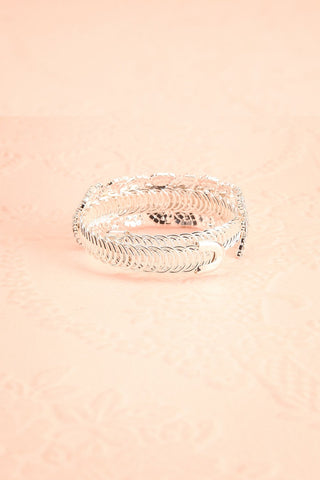 Urbanitas Crystal Studded Silver Bangle Bracelet | Boutique 1861 back view