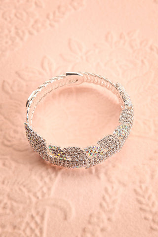 Urbanitas Crystal Studded Silver Bangle Bracelet | Boutique 1861