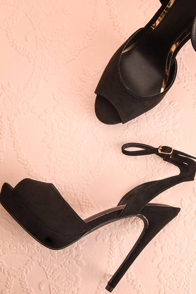 Urfe Black Faux-Suede Platform Stiletto Sandals | Boutique 1861