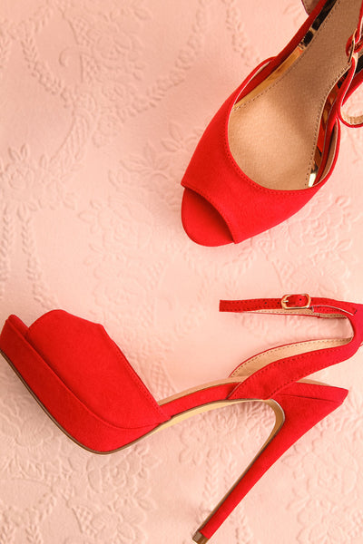 Urfe Red Faux-Suede Platform Stiletto Sandals | Boutique 1861 1