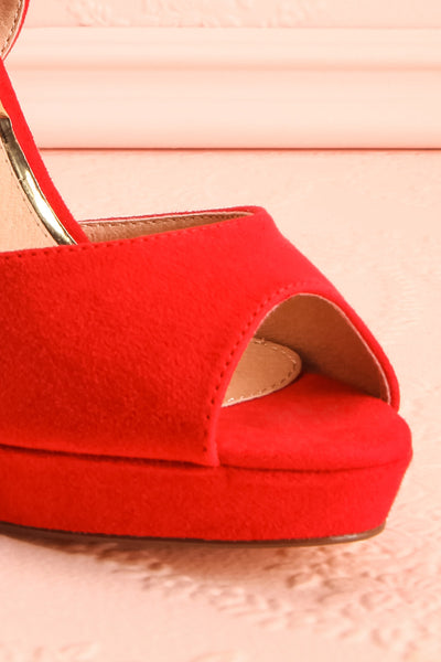Urfe Red Faux-Suede Platform Stiletto Sandals | Boutique 1861 4