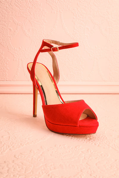 Urfe Red Faux-Suede Platform Stiletto Sandals | Boutique 1861 3
