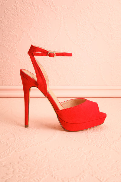 Urfe Red Faux-Suede Platform Stiletto Sandals | Boutique 1861 5