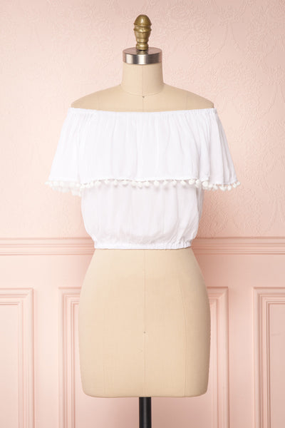 Uruyasu White Off-Shoulder Crop Top with Pompoms | Boutique 1861