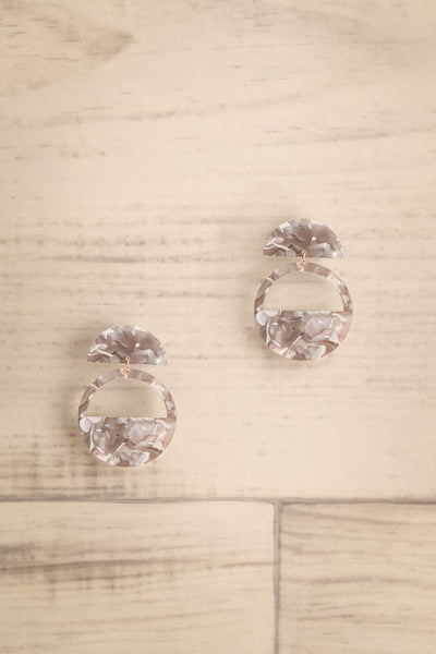 Valady Stone Grey Marbled Hoop Pendant Earrings | La Petite Garçonne
