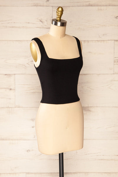 Valka Black Ribbed Square Neck Cami | La petite garçonne side view
