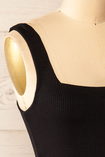 Valka Black Ribbed Square Neck Cami | La petite garçonne side close-up