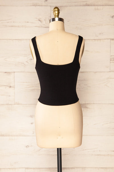 Valka Black Ribbed Square Neck Cami | La petite garçonne back view