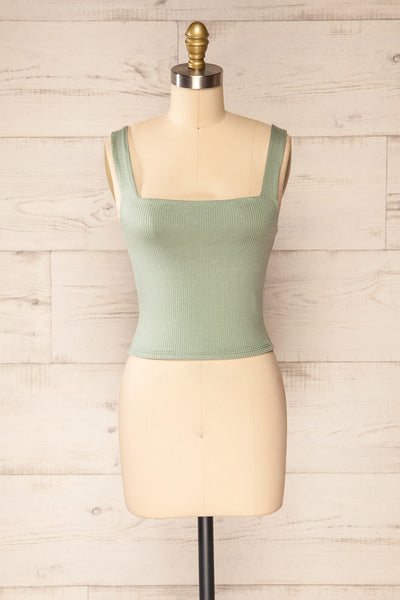 Valka Green Ribbed Square Neck Cami | La petite garçonne front view