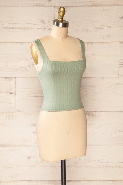 Valka Green Ribbed Square Neck Cami | La petite garçonne side view