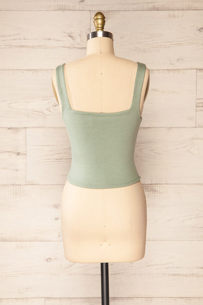 Valka Green Ribbed Square Neck Cami | La petite garçonne back view