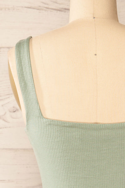 Valka Green Ribbed Square Neck Cami | La petite garçonne back close-up