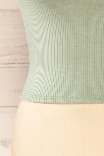 Valka Green Ribbed Square Neck Cami | La petite garçonne bottom