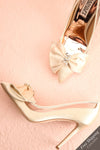 Van Loo Ivory Satin High Heels with Bow & Crystals | Boudoir 1861