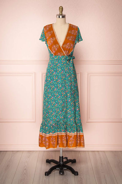 Vanihei Aqua Floral Wrap Summer Dress | Boutique 1861