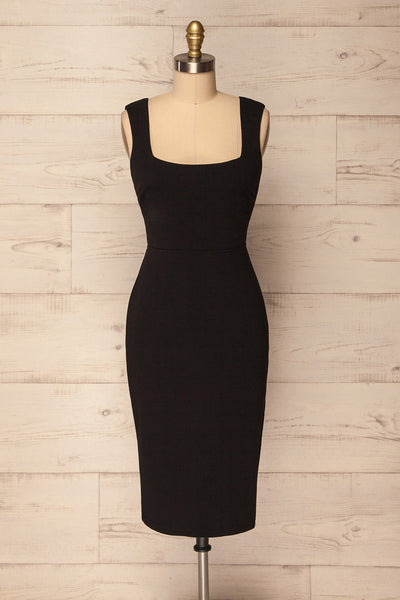 Varaire Black Fitted Cocktail Dress w Tied Back | La Petite Garçonne