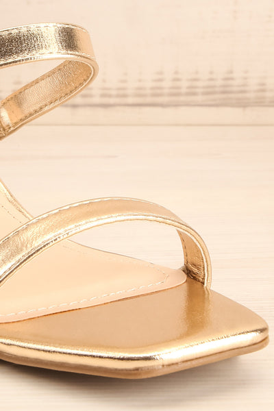 Varese Gold Slip-On Block Heel Sandals | La petite garçonne front close-up