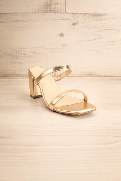Varese Gold Slip-On Block Heel Sandals | La petite garçonne front view