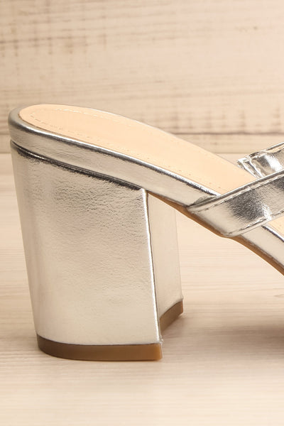 Varese Silver Slip-On Block Heel Sandals | La petite garçonne side close-up