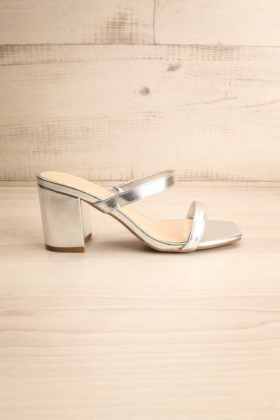 Varese Silver Slip-On Block Heel Sandals | La petite garçonne side view