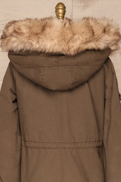 Varna Khaki Parka Coat with Faux Fur Hood | La Petite Garçonne back close-up