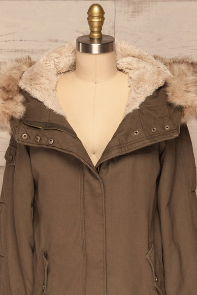 Varna Khaki Parka Coat with Faux Fur Hood | La Petite Garçonne front close-up open