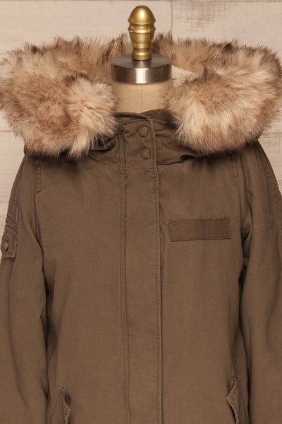 Varna Khaki Parka Coat with Faux Fur Hood | La Petite Garçonne front close-up