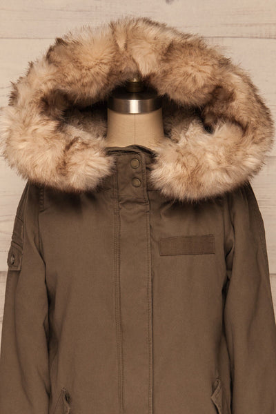 Varna Khaki Parka Coat with Faux Fur Hood | La Petite Garçonne front close-up hood