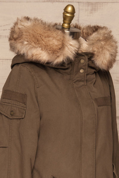 Varna Khaki Parka Coat with Faux Fur Hood | La Petite Garçonne side close-up