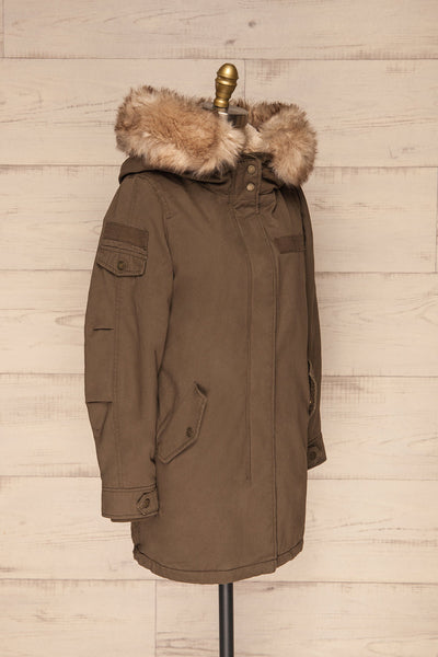 Varna Khaki Parka Coat with Faux Fur Hood | La Petite Garçonne side view