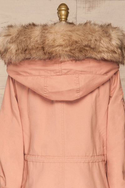 Varna Rose Pink Parka Coat with Faux Fur Hood | La Petite Garçonne back close-up