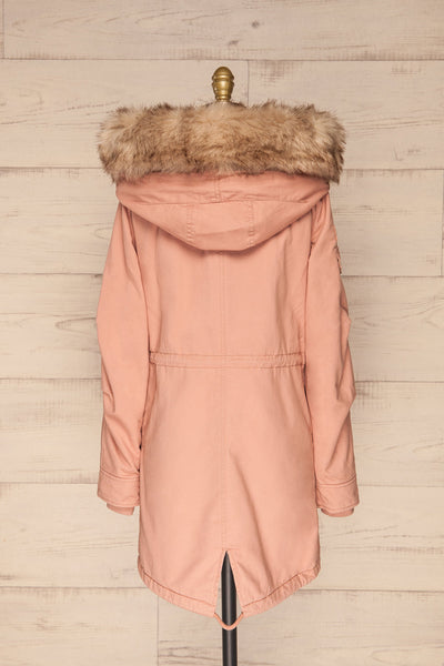 Varna Rose Pink Parka Coat with Faux Fur Hood | La Petite Garçonne back view