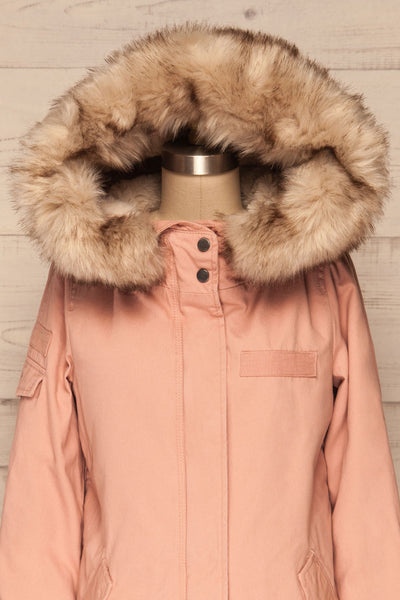 Varna Rose Pink Parka Coat with Faux Fur Hood | La Petite Garçonne front close-up hood