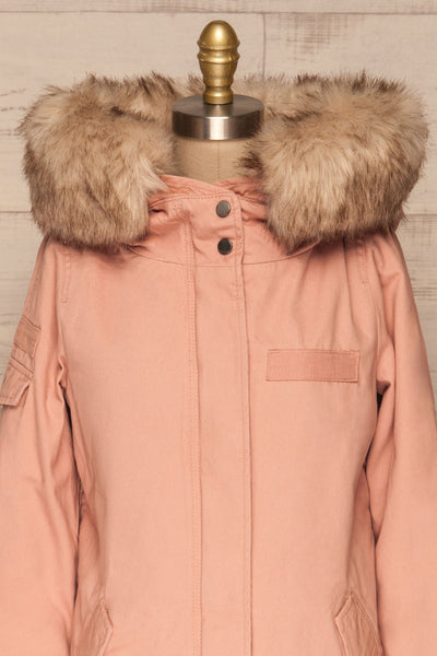 Varna Rose Pink Parka Coat with Faux Fur Hood | La Petite Garçonne front close-up
