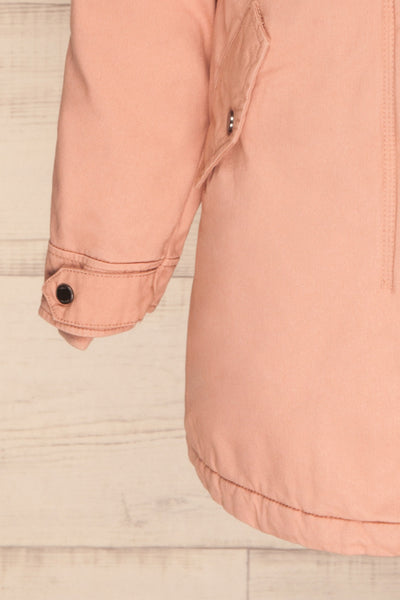 Varna Rose Pink Parka Coat with Faux Fur Hood | La Petite Garçonne bottom close-up