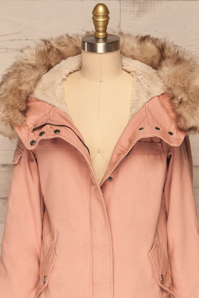 Varna Rose Pink Parka Coat with Faux Fur Hood | La Petite Garçonne front close-up open