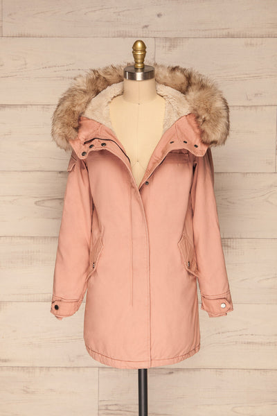 Varna Rose Pink Parka Coat with Faux Fur Hood | La Petite Garçonne front view open