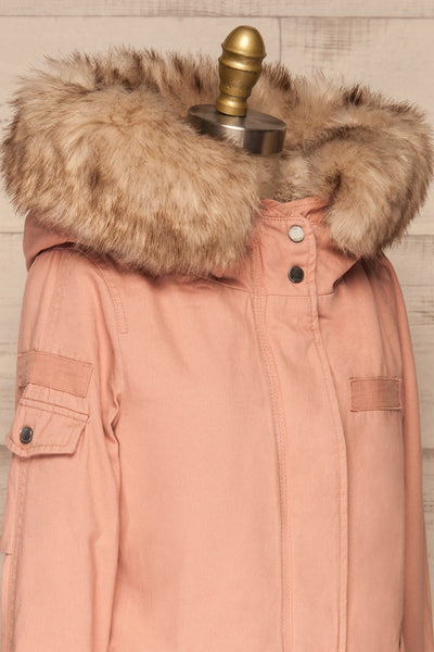 Varna Rose Pink Parka Coat with Faux Fur Hood | La Petite Garçonne side close-up
