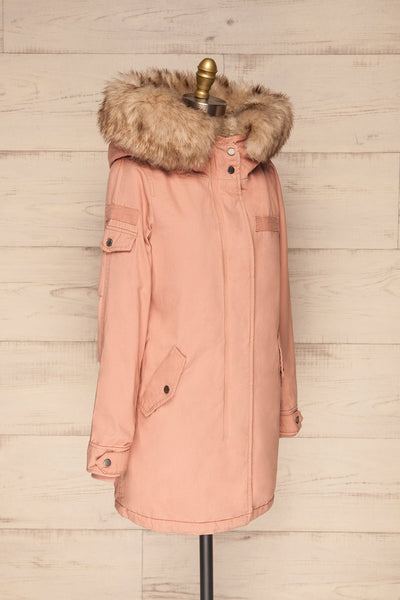 Varna Rose Pink Parka Coat with Faux Fur Hood | La Petite Garçonne side view
