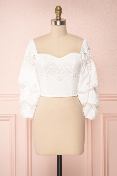 Vauclin White Lace 3/4 Sleeved Crop Top | Boutique 1861
