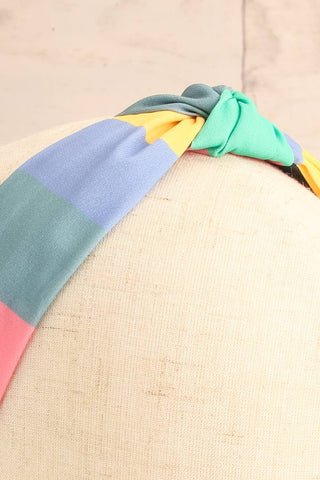 Vaxholm Colourfully Striped Headband with Knot close-up | La Petite Garçonne
