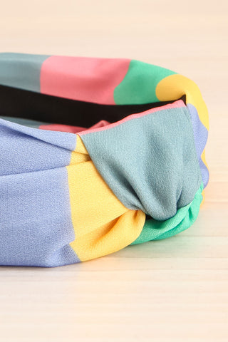 Vaxholm Colourfully Striped Headband with Knot flat close-up | La Petite Garçonne