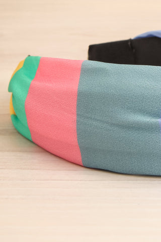 Vaxholm Colourfully Striped Headband with Knot flat lay close-up | La Petite Garçonne