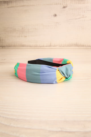 Vaxholm Colourfully Striped Headband with Knot flat view | La Petite Garçonne