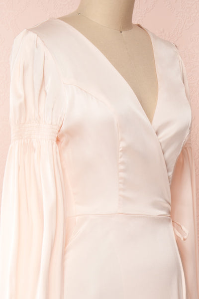 Velatura Pink Satin Wrap Dress | Robe Maxi | Boudoir 1861 side close-up
