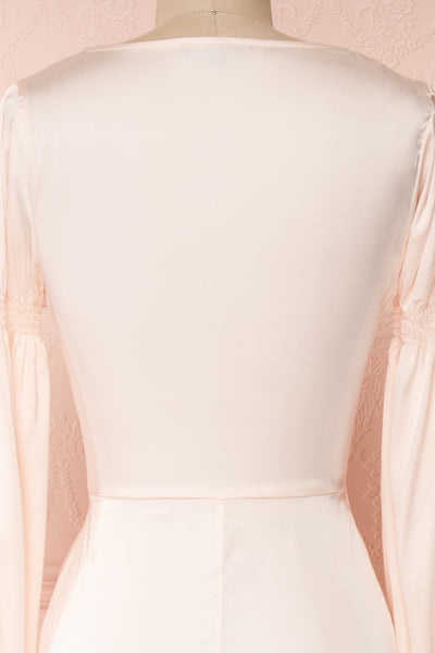 Velatura Pink Satin Wrap Dress | Robe Maxi | Boudoir 1861 back close-up