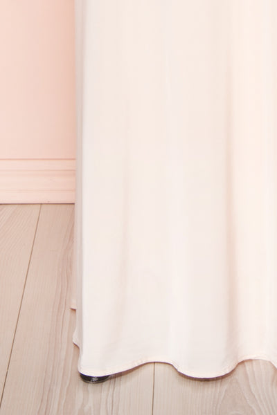 Velatura Pink Satin Wrap Dress | Robe Maxi | Boudoir 1861  bottom close-up