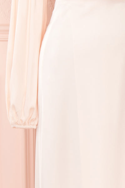 Velatura Pink Satin Wrap Dress | Robe Maxi | Boudoir 1861 sleeve close-up
